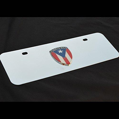 Short stainless steel Decor License Plate w Puerto Rico PR Metal Decorative Emblem Decal Ornament Mirror Polish or Black