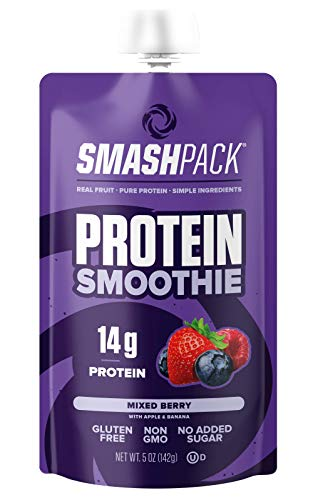 SmashPack Protein Fruit Smoothie Squeeze Pouch (Mixed Berry)  14g of Protein with MCT Oil, No Added Sugar, Gluten Free, Non-GMO  On-The-Go Energy Snack, 5 oz Each - 12-Pack