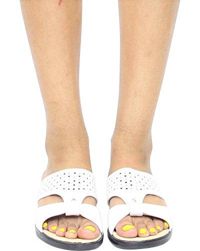 First Sight Womens Soft Laser Cut Comfort Sandal - White,White,6.5