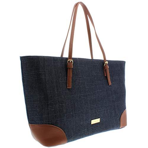 Trim Shopper (Bebe Womens Debbie Faux Leather Trim Shopper Tote Handbag Denim Large)
