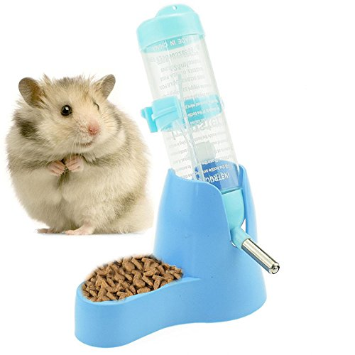125ml Pet Drinking Bottle with Food Container Base Hanging Water Feeding Bottles Auto Dispenser for Hamsters Rats Small Animals Ferrets Rabbits Small Animals (125ML, Blue)