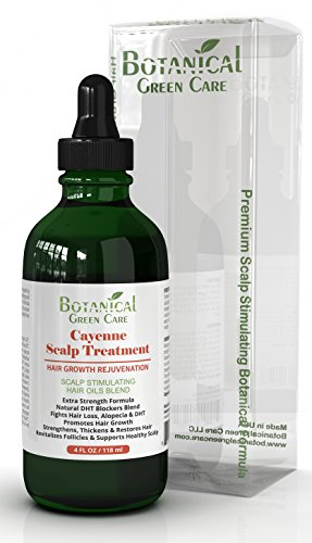 Cayenne Hair Loss Scalp Treatment. DHT Blocker, Organic Hair Growth Oil For Hair Thinning Prevention Postpartum Alopecia Saw Palmetto Capsaicin, 4 oz.