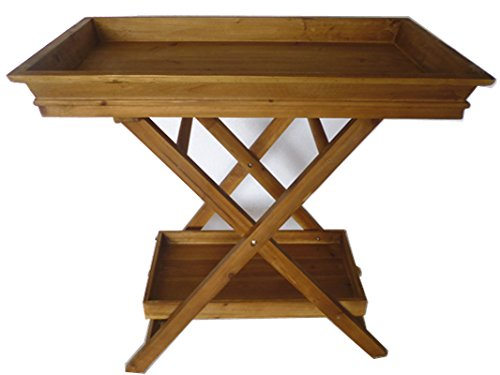 Foldable Wooden Serving Tray / Butlers Tray w/ Stand and Bottom Shelf Product SKU: HD221914