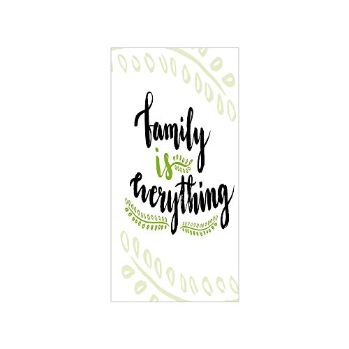 Decorative Privacy Window Film/Cute Lettering Family is Everything Motivaonal Phrase Branches Leaves/No-Glue Self Static Cling for Home Bedroom Bathroom Kitchen Office Decor Apple Green Black White