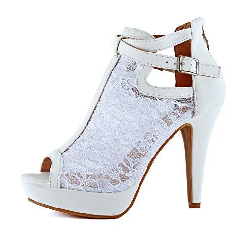 Guilty Shoes Womens Cutout Gladiator Ankle Strap Platform Block Heel Stiletto Sandals (7 M US, White Lace)
