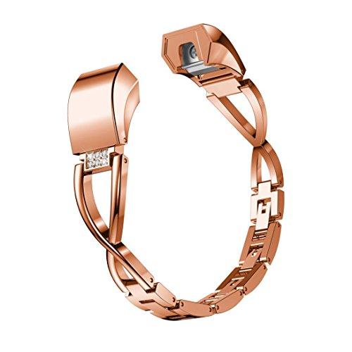 Vanvler Watchband For Fitbit Alta HR/Alta, Metal Watch Bracelets Diamond Watch Strap Small (Rose Gold)