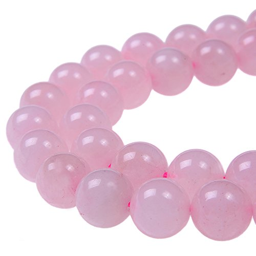 PLTbeads 8mm Natural Rose Quartz Gemstone Round loose Beads Approxi 15.5 inch 48pcs 1 Strand per Bag for Jewelry Making Findings Accessories-Pink (Quartz Round Bead Strand)