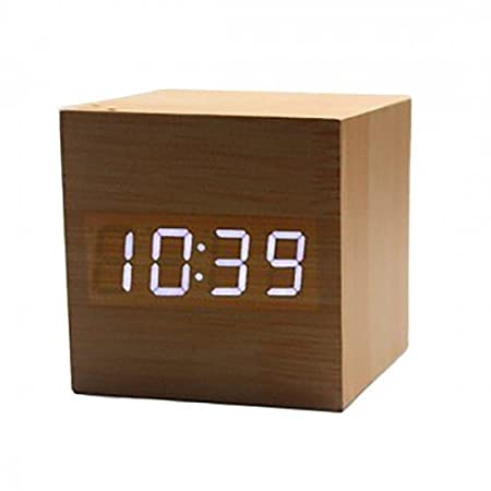 Generic Wooden Cube/Rectangle LED Alarm Digital Clock with Time Temperature Date Display, Voice and Touch Activated, 5.5x5.5x5.5cm(Brown) Alarm Clocks at amazon