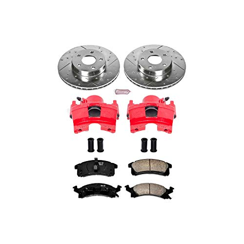 Power Stop KC3156 Z23 Evolution Sport 1-Click Brake Kit with Powder Coated Calipers (Brake Pads, Drilled/Slotted Rotors) ()