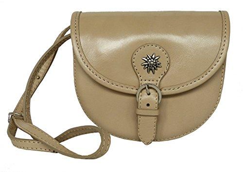 Elegante Echt Leder Trachtentasche mit Fleur des Lys oder Edelweiss fürs Dirndl - Rindsleder Edleweiss Taupe cYqcmyA