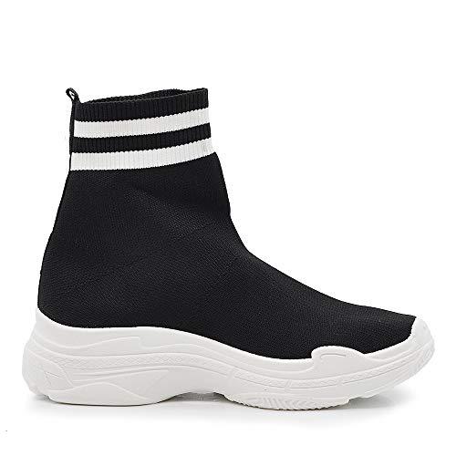 776 Ginnastica Scarpe Stivaletti Elasticizzati Sport Sneakers Respirare Nero q7rgarnWw