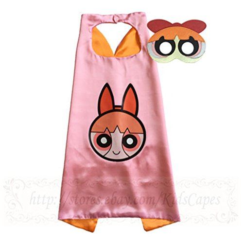 Powerpuff Girls capes and masks power girls Costume kids birthday party favor Blossom cape with (Blossom Powerpuff Girl Costume)
