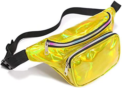 Packism Fanny Pack Holographic Fanny Pack for Women Men Waterproof Waist Pack Bag for Festival Travel Rave Party Belt Bag Neon Iridescent Hip Bum Bag