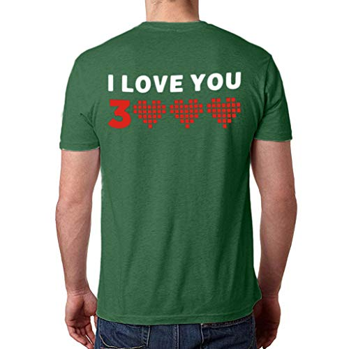 (HJuyYuah I Love You 3000 Women Man Couple Print Short Sleeve Loose Tops Blouse T Shirt Green)