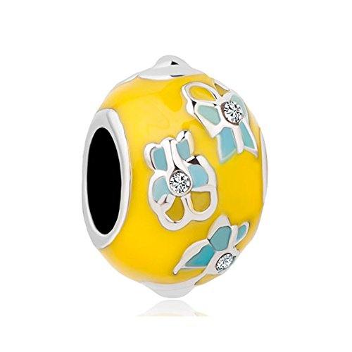 - LovelyCharms Easter Yellow Faberge Egg Butterfly Charm Beads For Bracelets