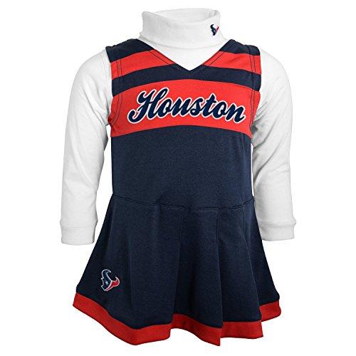 NFL Houston Texans Girls Cheer Jumper Dress with Turtleneck Set, Medium, DP Obsidian