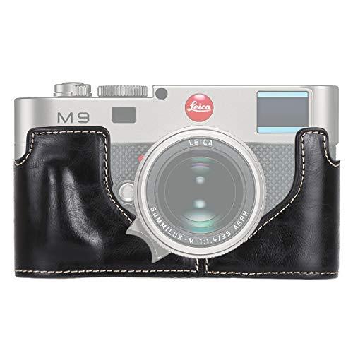 GzPuluz Camera Case Bag 1/4 inch Thread PU Leather Camera Half Case Base for Leica M9 (Black) (Color : Black)