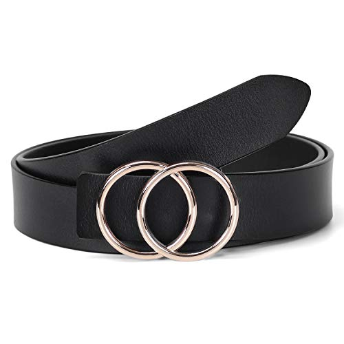 WERFORU Fashion Women Leather Belt with Double O Ring Golden Buckle for Jeans (Suit for waist size 39