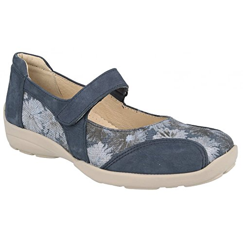 DB Easy B Womens Misty Strap Over Shoes 78579N EE-4E (2V) Navy/Floral 1onmKG