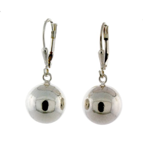 Sterling Silver High Polished Ball Leverback Dangling Earrings