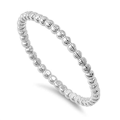 Rings Beaded Men's (Rhodium Plated 925 Sterling Silver Beaded Stackable Ring Size 4)