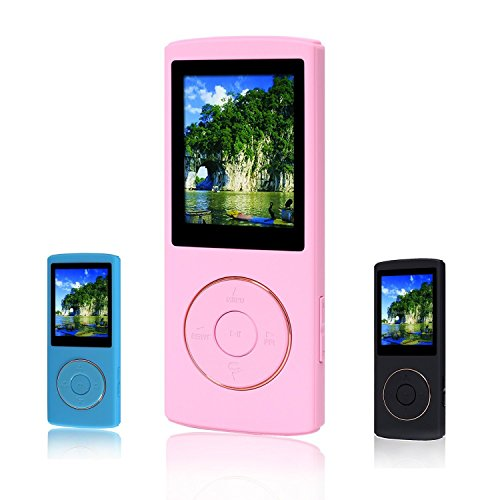 FecPecu 16GB MP3 Music Player with 48 Hours Playback Hi-Fi Sound (Pink)