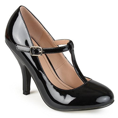 Journee strap Sueded T Womens Patent Pumps Collection Toe Black Round xUwqnpfxHC