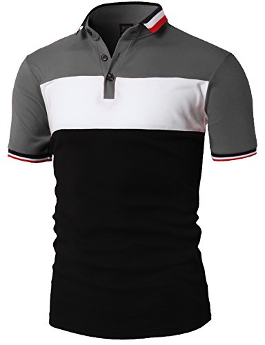 H2H Mens Erratic Modern Fit Short Sleeve Heritage Solid Pique Polo Shirts GRAY US L/Asia 2XL (KMTTS0499)