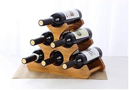 HJXSXHZ366 Estantería de Vino Madera Estante del Vino, Estante del Vino autoportante, geométrica, 6 Botellas de Vino Tinto Cocina, Bar, Restaurante Estante de Vino pequeño