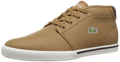 Lacoste Men's Ampthill Chukka Sneakers,Light Brown/Off White leather,13 M US (Lacoste Classic Pop)