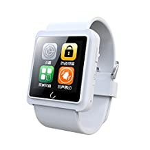 Koogogo® U Watch U10L Wireless Bluetooth 4.0 Smart Watch Sync Phone Call SMS APP Notification with Anti-lost Pedometer Sleep Monitoring for IOS Iphone Android Smartphones (White)