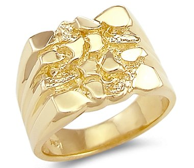 Solid 14k Yellow Gold Large Heavy Mens Nugget Ring BandAmazoncom