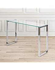Take Me Home Furniture Glass Computer Desk Modern Sturdy Office Desk PC Laptop Notebook Study Table for Home Office Workstation, Metal Polish Legs in Chrome (Http-09)