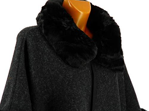 Noir Noir Grande Laine Fourrure Ruby Noir Charleselie94 Manteau Cape Taille P8wEwqCg