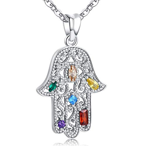 Aniu Hamsa Necklace for Women Girls, Sterling Silver Hand of Fatima Pendant with Zirconia, Protection Jewelry Gift (Hand With Eye In The Middle Meaning)