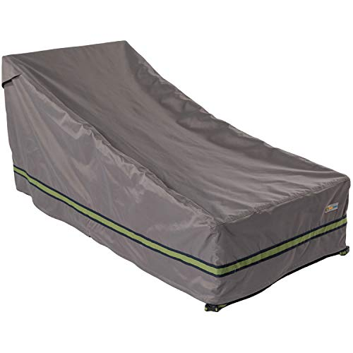 Duck Covers RCE825732 Grey Long Soteria Rainproof 82 in. Double Wide Patio Chaise Lounge Cover ()