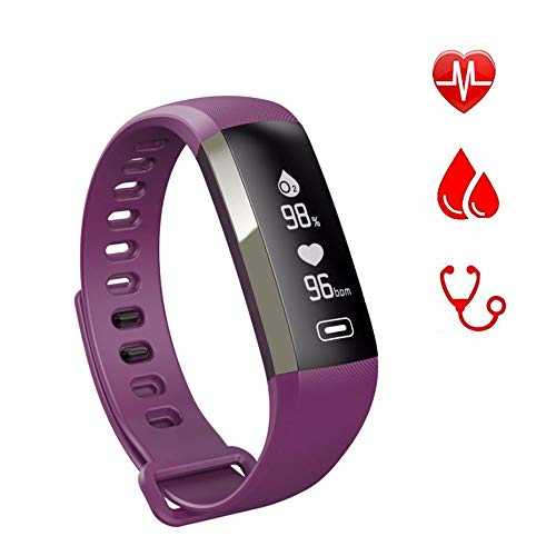 Band R5 PRO Heart Rate Blood Pressure Oxygen Oximeter Sport Bracelet Watch Intelligent for iOS Android-Purple ()