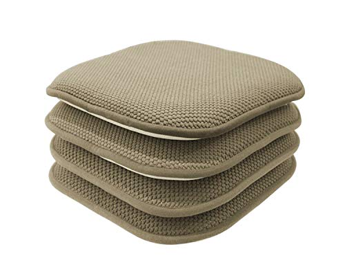GoodGram 4 Pack Non Slip Ultra Soft Chenille Honeycomb Premium Comfort Memory Foam Chair Pads/Cushions - Assorted Colors (Taupe) (Chair X Cushions 15 Outdoor 15)