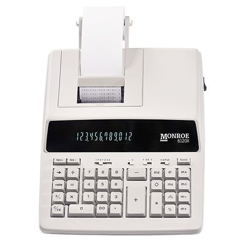 Monroe Systems for Business 6120X Genuine Monroe 12-Digit Print/Display Business Medium-Duty Calculator, -