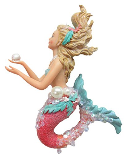December Diamonds Large Embellished Mermaid Holding a Pearl Ornament 79-80945 7 ()