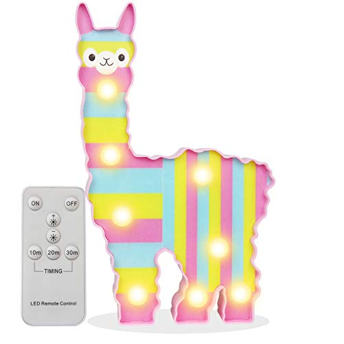 Pooqla Remote Timer Control 3D Rainbow Alpaca Llama Night Light, Light Up Llama Decor Signs Kids Gifts Home Table Wall Decoration for Girls Room, Bedside(Pink with Rainbow - On Lamp Stripes A Table