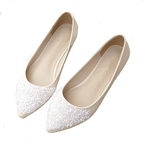 FLYRCX Moda Personalidad Lentejuelas Zapatos Planos Zapatos de Trabajo de Oficina de Las Mujeres cómodos Zapatos de Maternidad Antideslizantes Zapatos Casuales, 39 UE 34 EU