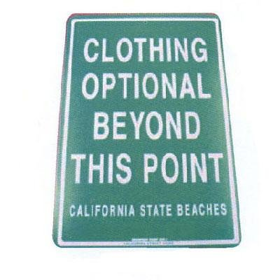 Seaweed Surf Co SF36 12X18 Aluminum Sign Clothing Optional California (Seaweed Surf Co compare prices)