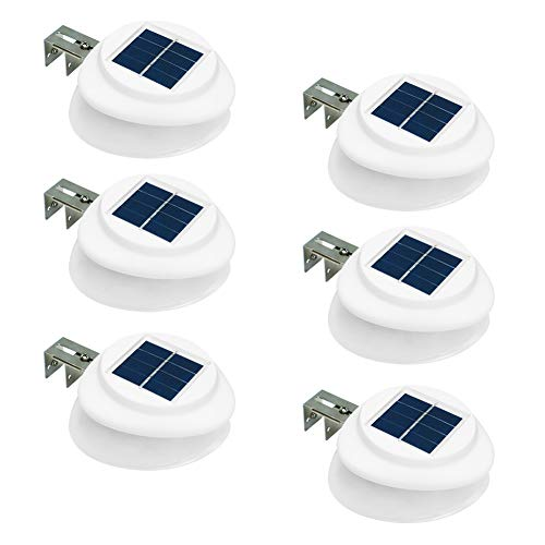 LED Solar Fence Gutter Lights 9 LED Outdoor Light for Patio, Deck, Yard, Garden Patio roof with Light and Dark Auto On/Off 6 Packs