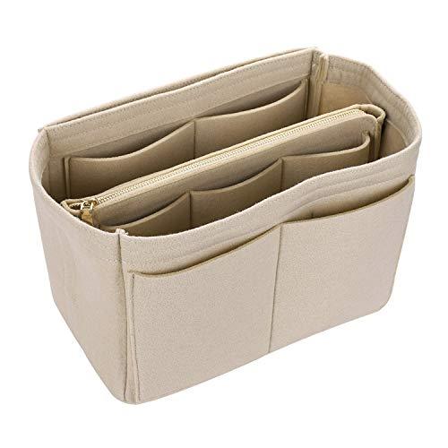 Make up Organizer Felt Insert Bag For Handbag Travel Inner Purse Portable Cosmetic Bag,Beige,S