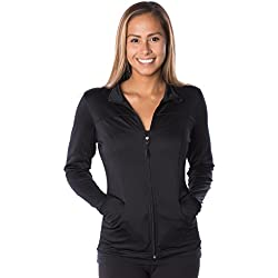 Global Women's Slim Fit Lightweight Full Zip Yoga Workout Jacket XL Black