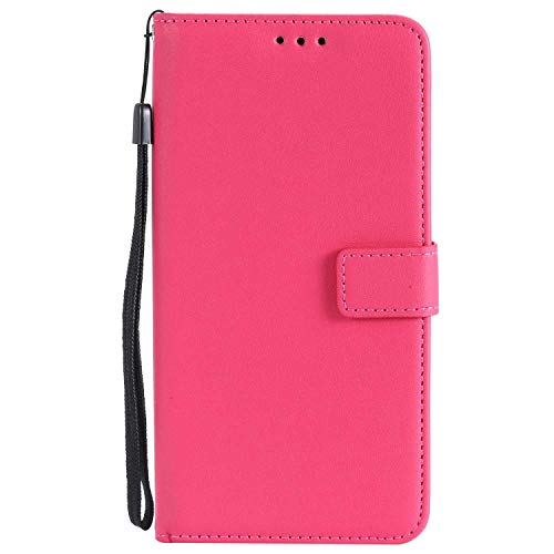 UNEXTATI LG V30 Case, Leather Magnetic Closure Flip Wallet Case with Card Slot and Wrist Strap, Slim Full Body Protective Case (Hot Pink #2) by UNEXTATI (Image #5)