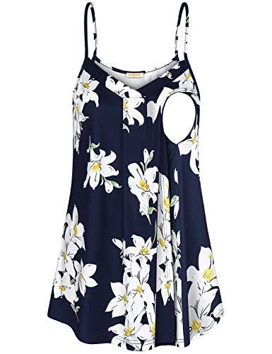 Baikea Nursing Shirt,V Neck Tank Top for Women Cami Flower Pattern Flowy Pleats Knitting Stretchy Soft Surroundings Comfortable Shirts for Breast Feeding Floral Navy L