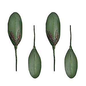 HZOnline Artificial Silk Phalaenopsis Leaves, Simulation Butterfly Orchid Leaf Fake Plants Floral Bouquet for Crafts Home Wedding Decoration DIY Making Photography Props (4pcs) 12