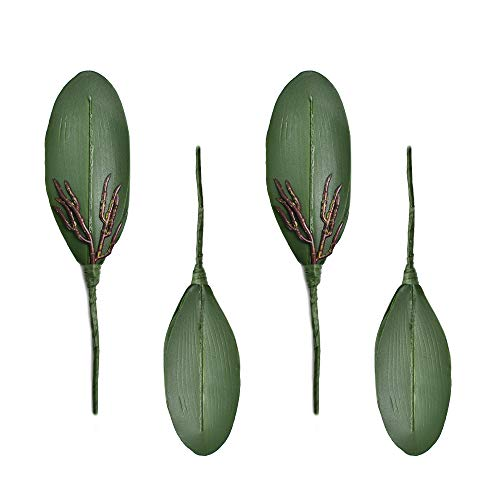 Green Orchid Boutonniere - HZOnline Artificial Silk Phalaenopsis Leaves, Simulation Butterfly Orchid Leaf Fake Plants Floral Bouquet for Crafts Home Wedding Decoration DIY Making Photography Props (4pcs)